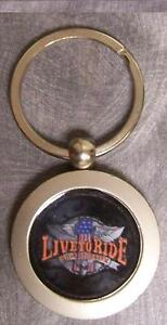 Pewter Key Ring Biker Themed Live to Ride - Ride to Live NEW