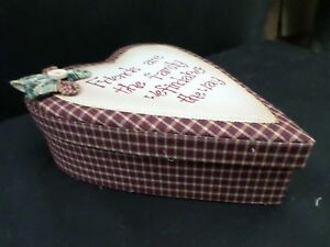 shabby chic country vintage decor verse sign fabric box friends heart
