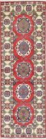 NEW 6 ft Runner Kazak Handmade Geometric Oriental Wool Rug RED and IVORY 2'x6'