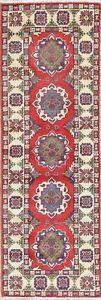 NEW 6 ft Runner Kazak Handmade Geometric Oriental Wool Rug RED and IVORY 2'x6'