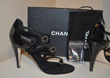 NIB CHANEL 17C Black Velvet Patent CC Strappy Buckle Sandal Heels Pump Shoe 36