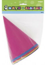 Assorted Cone Birthday Party Hats Pk8