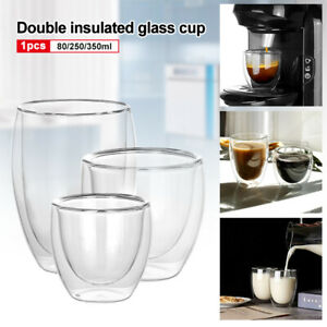 1-2Pcs Double Walled Insulated Glasses Coffee Tea Glass Mugs Thermal EspressoUK