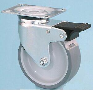 Castors/Wheel 50KG Plate Fixing Non Mark Rubber Swivel/Braked Castor 50mm x 18mm