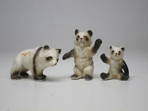 "2"" VTG Panda Bear Family Mom Dad Baby Miniature Bone China Figure Figurine Mini"