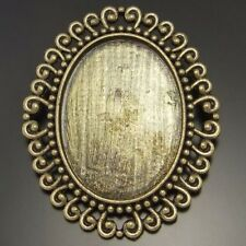 4x Antique bronze alloy oval cameo setting 40*30mm pin brooch findings 02141