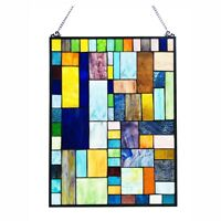 "Stained Glass Tiffany Style Window Panel Modern Arts & Crafts Mission 18"" x 24"""