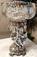 Vintage Silver Metal Cherub Crystal Bowl w/Glass Dangles Centerpiece Compote