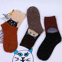 Women Warm Socks Trendy Cat Animal Print Soft Wool Casual Socks