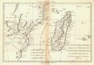 Le Canal de Mosambique, l'Isle de Madagascar… Mozambique. Africa. BONNE 1788 map