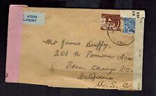 1943 County Mayo Ireland Dual Censored Cover to Brea Orange COunty CA USA