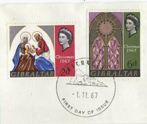 (84996) Gibraltar Used Christmas 1967 ON PIECE
