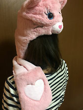Cute Pink Kitty Hat with Gloves / Scarf