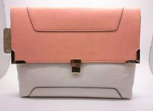 BNWT Accessorize Peach & Stone Colour Block Clutch Handbag