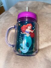 Disney Store Official Cup Little Mermaid Ariel Swirly Straw Plastic Tumbler