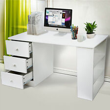 Computer Desk 3 Drawer Furniture for Home Office PC Table Wood Workstation White