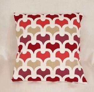 "14"" 16"" 18"" 20"" 22"" Cushion Cover Red Cream Beige Retro Print 100% Cotton"