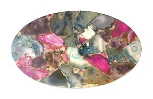Agate Table Top Oval Table, Natural Agate Table, Oval Coffee Table, Mix Color