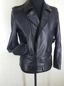 Saks Fifth Ave  NEW  100%  Lambskin Leather Black  Motorcycle Jacket  Medium