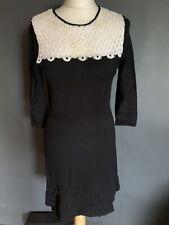 gharani strok Black Cotton Dress Lace Neck Size M