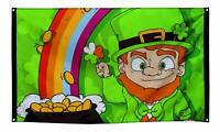 Happy St Patricks Day Flag - 5 x 3 FT - Irish Ireland Pot Of Gold Leprechaun