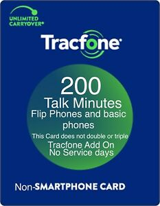 TracFone 200 Talk Minutes Add On Refill Card for Non Smartphones and Flip Phones
