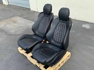 2012 Ferrari California Front Leather Seats Black Red Diamond Stitch Used OEM