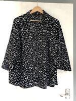 Evans Animal Leopard Print Black White Shirt Size 20