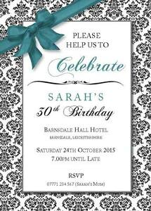 PERSONALISED BIRTHDAY PARTY INVITES Bow Invitations Various Colours Pack of 10