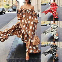 Women Polka Dot Printed Plus Size Cold Shoulder Lace Puff Sleeve Bow Long Dress