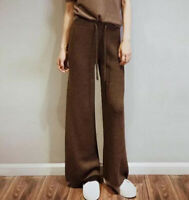 New Womens Knitted Wool Cashmere Blend Wide Leg Loose High Waist Pants Trousers