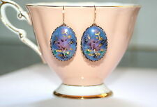 Vintage RARE hand-painted glazed purple German glass artisan retro earrings