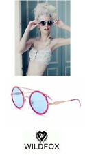 Wildfox Couture ROUND SUNGLASSES 'Winona Deluxe' with Case, Hot Pink New $199