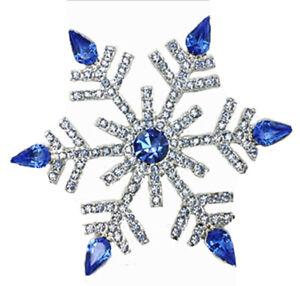 "Large 3"" Winter Wonderland Royal Blue Snowflake Brooch NEW Rhinestone Pin Frozen"