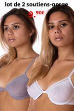 INA lot promotionnel de 2 soutiens-gorge emboitants blanc + gris  taille 90B