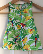 American Apparel Womens Tropical Birds Open-Back Sleeveless Cropped Top S UK 6-8