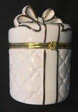 Wht w/ Gold Ceramic Trinket Box, Jewelry, Storage,Table Top Display, New w/ Box