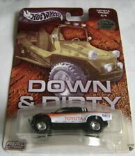 HOT WHEELS DOWN AND DIRTY BAJA RACER TOYOTA TRUCK BLACK & WHITE W/REAL RIDERS LE