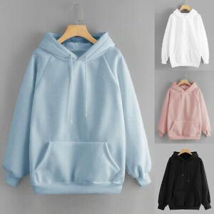 Women's Pullover Solid Color Loose Ladies Hooded Sweat shirt Long Sleeve Hoodies