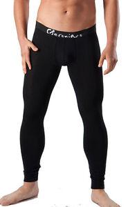 GERONIMO Mens Underwear Warm Pants Cotton Long Johns Black White