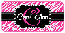 Personalized Monogrammed License Plate Auto Car Tag Zebra Initial Name Pink