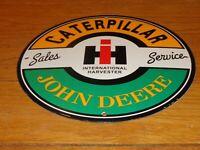 VINTAGE CATERPILLAR JOHN DEERE INTERNATIONAL HARVESTER PORCELAIN METAL GAS SIGN!