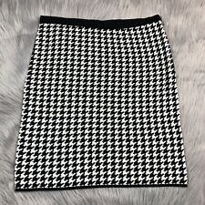 Adrienne Vittadini Black White Houndstooth Knit Pima Cotton Pencil Skirt Size S