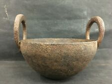 OLD VINTAGE SMALL COOKING HANDMADE IRON KADAI FIRE BOWL FIRE PIT. COLLECTIBLE