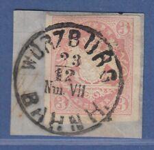 Bayern Wappen 3 Kreuzer rosa Mi-Nr. 15 mit Einkreisstempel WÜRZBURG BAHNHOF