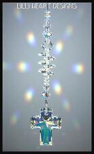 m/w Swarovski Crystal 40mm CROSS Aurora HEARTS Sun Catcher Lilli Heart Designs