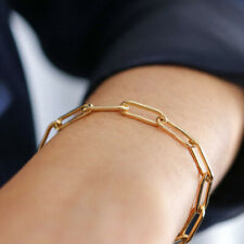 Trendy 14k Gold Filled Paper Clip Chain Bracelet,Stacking Layering Bracelets