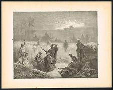 1880s Antique Vintage Ark Bible Religious Gustave Dore Art Engraving Print