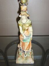 Very Old Antique Hand Painted Victorian Lady Lamp