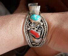 Vintage Navajo Sterling Silver Turquoise And Coral Watch Cuff Bracelet signed NS